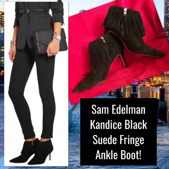 1b0863eb46b1 Sam Edelman Kandice Black Suede Fringe Ankle Boot!  M 5c12d6a9a31c33731f81a09a